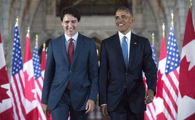 Barack Obama and Justin Trudeau in Parliament Hill in Ottawa on June 29,