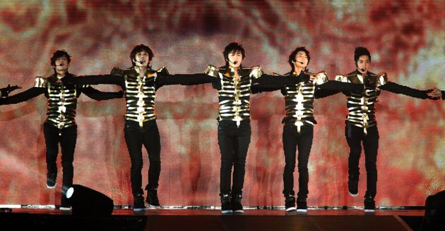 TAIPEI, CHINA - OCTOBER 17: (CHINA OUT) South Korea boy band SS501 perform on stage during their concert...