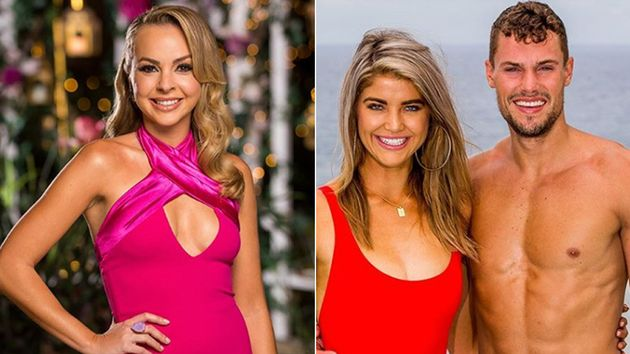 The Bachelorette Angie Kent (L) and Love Island Australia contestants Anna McEvoy and Josh Packham