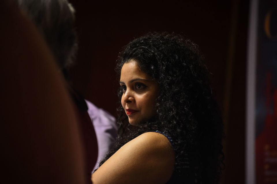 Indian journalist Rana Ayyub during the launch of her self-published book on May 27,