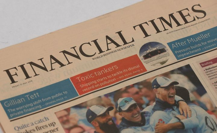 The Financial Times Masthead. (Photo by Jonathan Brady/PA Images via Getty Images)