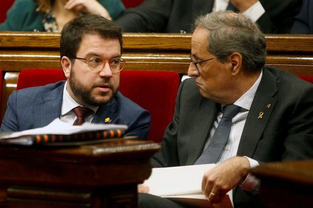El presidente de la Generalitat, Quim Torra, junto a su vicepresidente, Pere