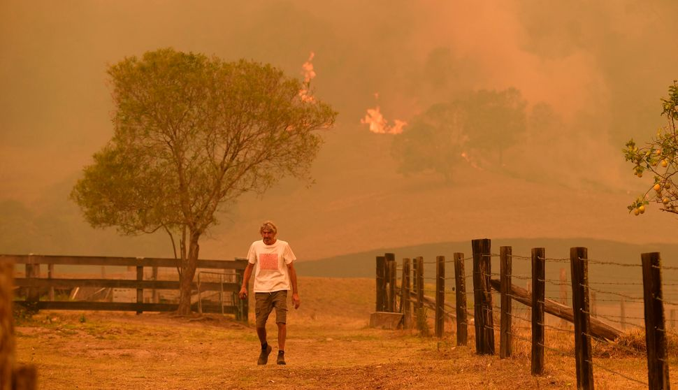 A man walks on a farm as flames approach near the town of Taree, 215 miles north of Sydney, on Nov. 14.