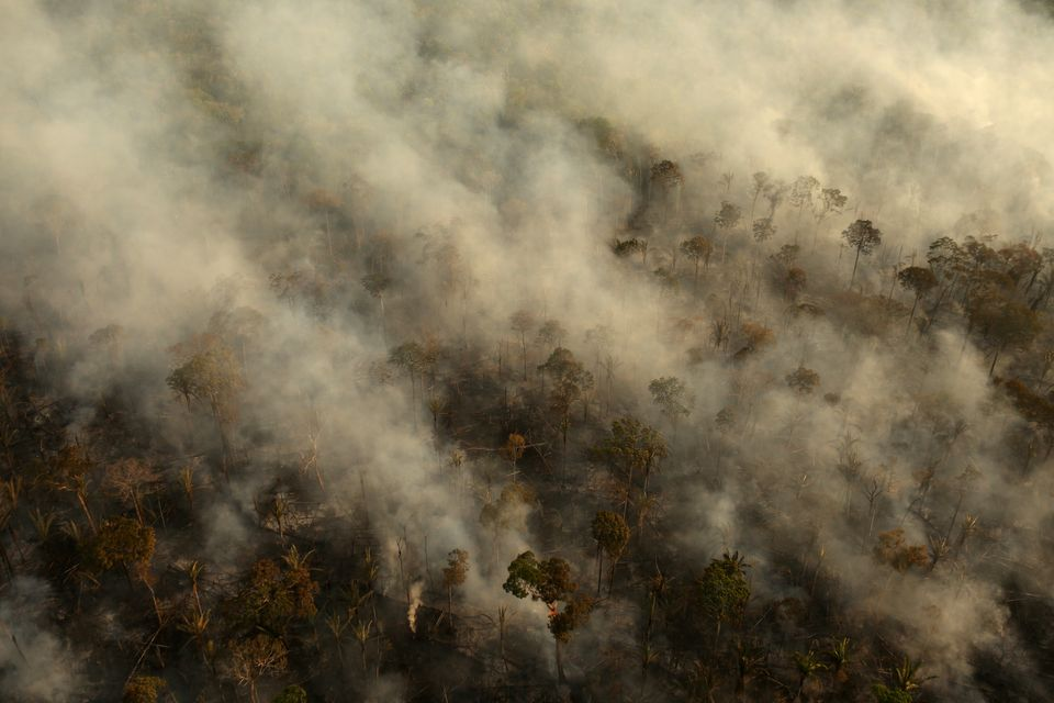 Smoke billows during a fire in an area of the Amazon rainforest near Porto Velho, Rondonia State, Brazil,...