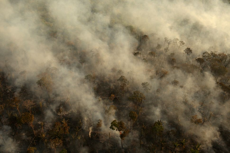 Smoke billows during a fire in an area of the Amazon rainforest near Porto Velho, Rondonia State, Brazil, on Sept. 10.