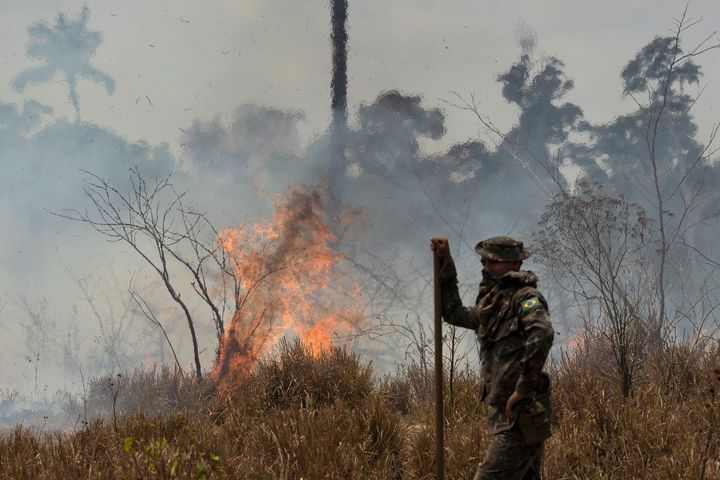 A Brazilian soldier takes a quick rest before resuming firefighting at the Nova Fronteira region in Novo Progresso, Brazil, on 3 September. Brazilian President Jair Bolsonaro sent the military to help extinguish some fires.