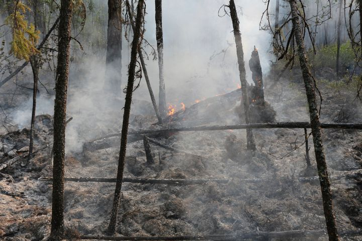 A fire in the Boguchansk district of the Krasnoyarsk region in Russia. Hundreds of Russian towns and cities were shrouded in heavy smoke from wildfires in Siberia and the Far East inJuly 2019.