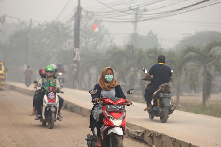 Motorcyclists ride on a road as haze from wildfires blankets the city in Palembang, Indonesia, on 14 October. According to the Indonesian Meteorology, Climatology and Geophysics agency, air quality has dropped to dangerous levels.