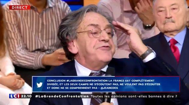 """Alain Finkielkraut était l'invité de """"La Grande confrontation"""" sur LCI ce mercredi 13"""