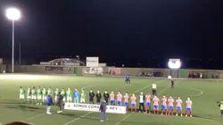 Un equipo de Tercera pone el himno de España franquista durante un partido de Copa del