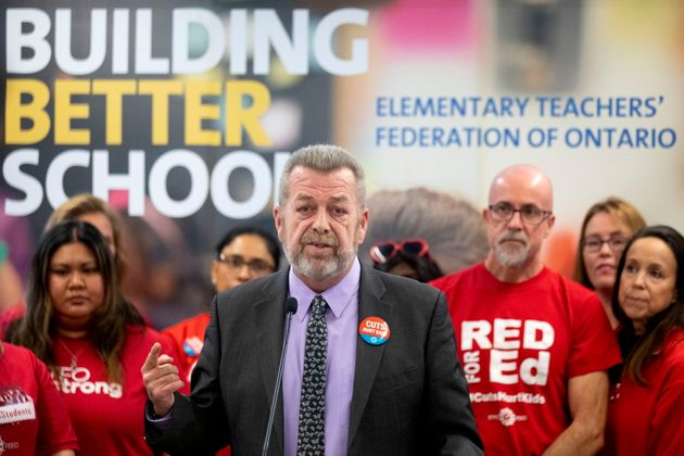 Elementary Teachers' Federation of Ontario president Sam Hammond speaks to the media in the union's Toronto...