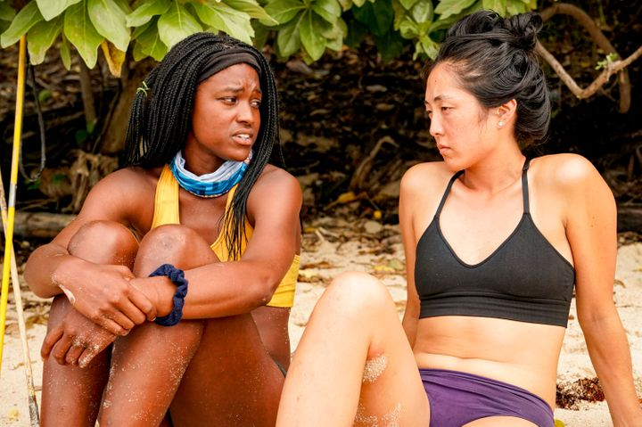 """Missy Byrd (left) and Kellee Kim (right) of """"Survivor"""" discuss their own experiences with Dan Spilo."""