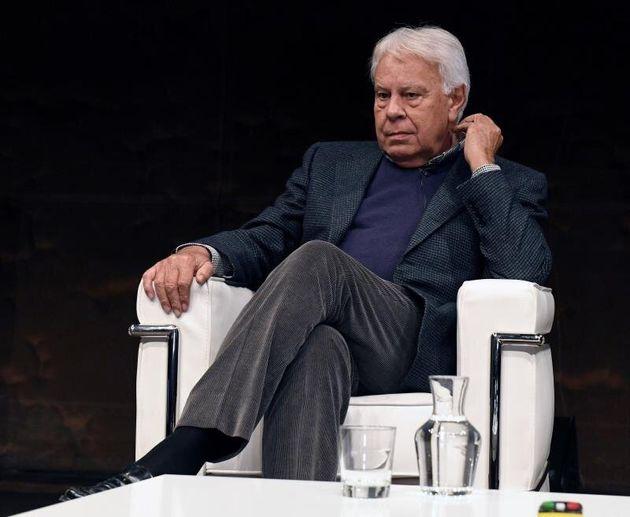 Felipe González, en un momento de su intervención en el