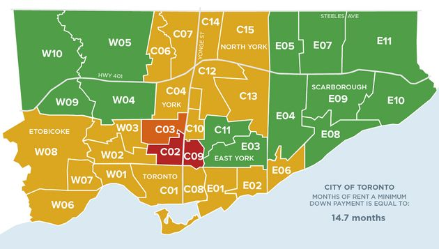 Areas in green denote relatively affordable neighbourhoods, while those in red indicate extremely unaffordable