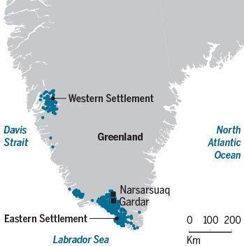Les Scandinaves qui ont colonisé le Groenland se sont installés à la pointe sud de l'île, et sur la côte...