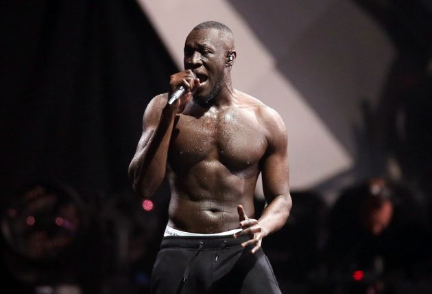 British grime artist Stormzy performs at the Brit Awards 2018 in