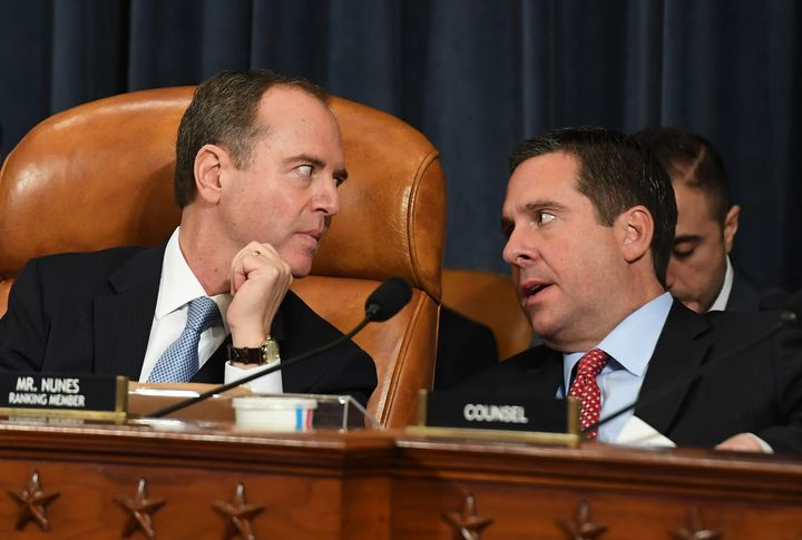House Intelligence Committee Chairman Adam Schiff (D-Calif.), left, talks with ranking member Rep. Devin Nunes (R-Calif.) on