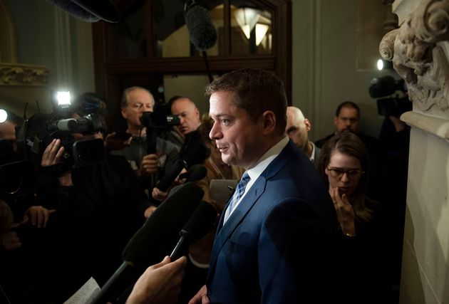 Conservative Leader Andrew Scheer speaks to reporters after leaving a meeting with Prime Minister Justin...