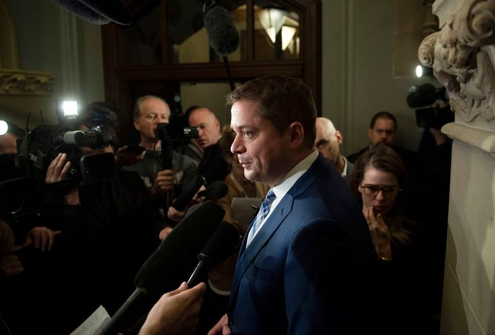 Conservative Leader Andrew Scheer speaks to reporters after leaving a meeting with Prime Minister Justin Trudeau in Ottawa on Tuesday, Nov. 12, 2019.