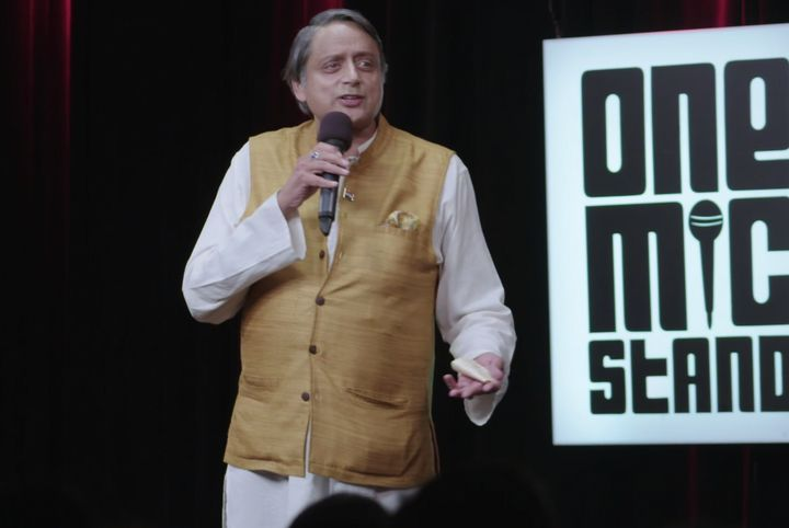 Shashi Tharoor performing a stand-up act in Noida