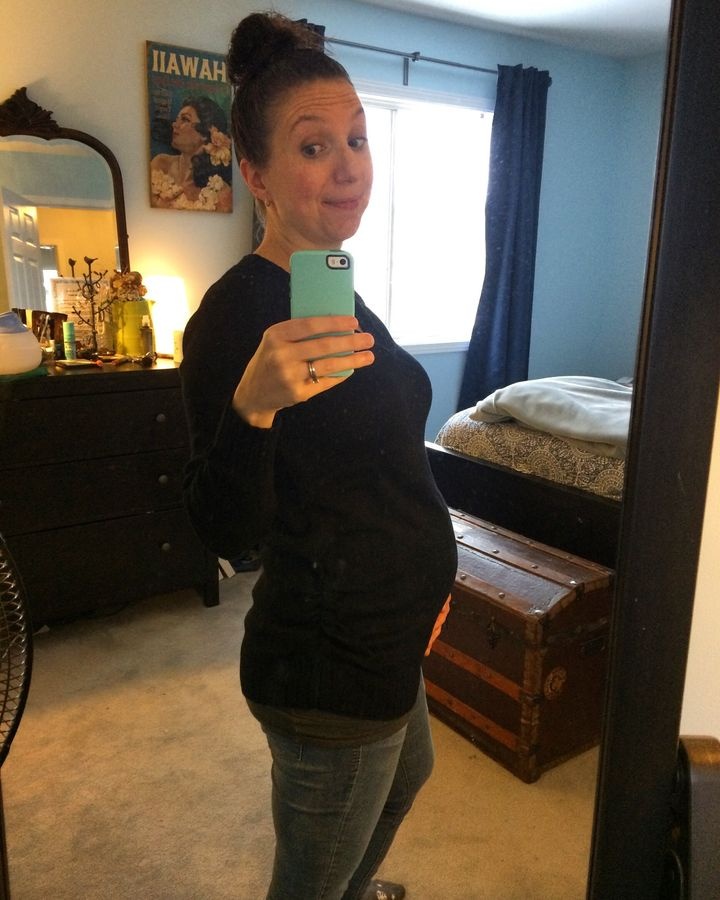 Natalie Stechyson, 24 weeks pregnant, looking a little haggard after barfing in the sink while brushing her teeth.