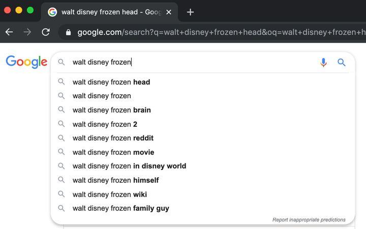 Is Walt Disney's head really frozen?