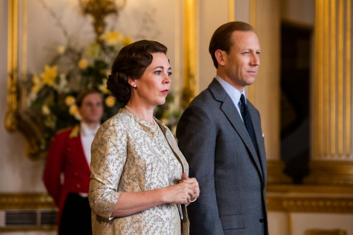 "Olivia Colman and Tobias Menzies in ""The Crown"""