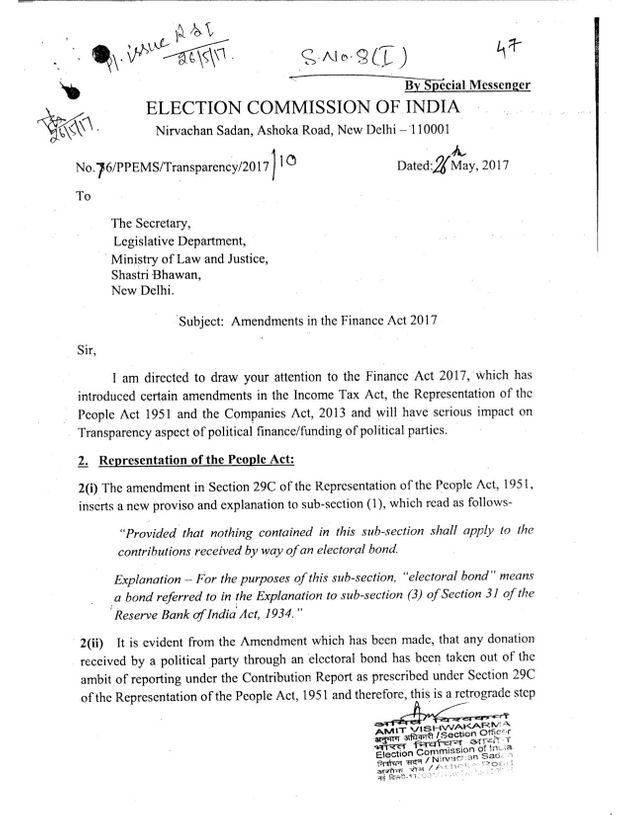 The ECI's May 2017 letter to the ministry of law and justice, obtained under the RTI