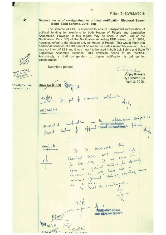 A Finance Ministry document, obtained under the RTI act, noting that the Modi government's request to...
