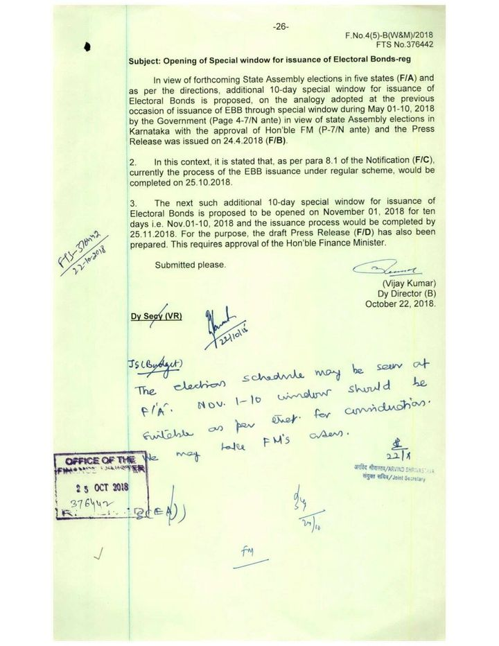 A Finance Ministry document, obtained under the RTI Act, explicitly tying the additional sale of bonds to the assembly elections scheduled for the winter of 2018.