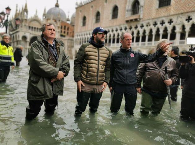 Luigi Brugnato, sindaco di Venezia, Matteo Salvini e Luca Zaia, governatore del