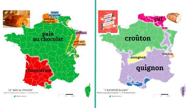 """Le mot chocolatine est utilisé essentiellement dans le Sud-Ouest de la France, tandis que """"quignon"""" est utilisé dans toute la France méridionale."""