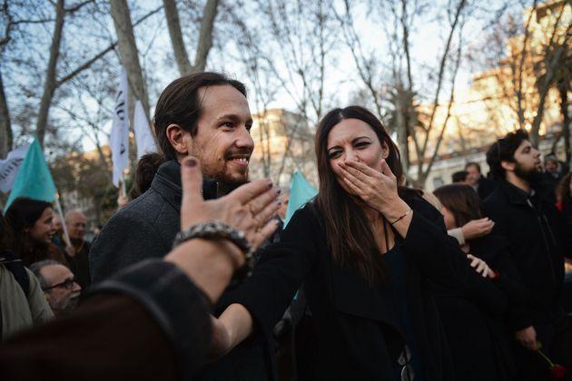 Pablo iglesias, de Podemos, y Marisa Matias, del Bloco, en un acto en Lisboa en enero de