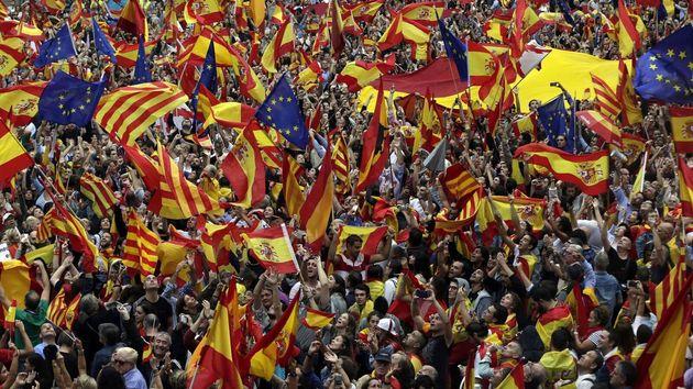 Manifestación del 8-O de 2017 en Barcelona contra la independencia de
