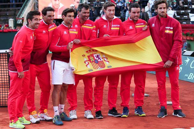 El equipo español de Copa Davis en la eliminatoria de cuartos del 2018, disputado en