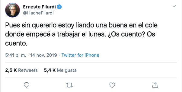 El tuit del profesor Ernesto