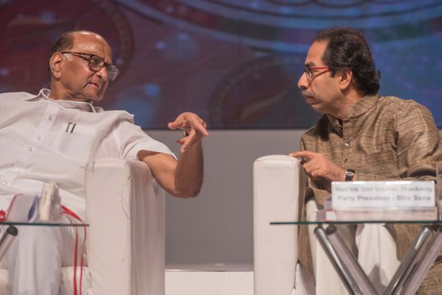 NCP chief Sharad Pawar with Shiv Sena Chief Uddhav Thackeray in a file