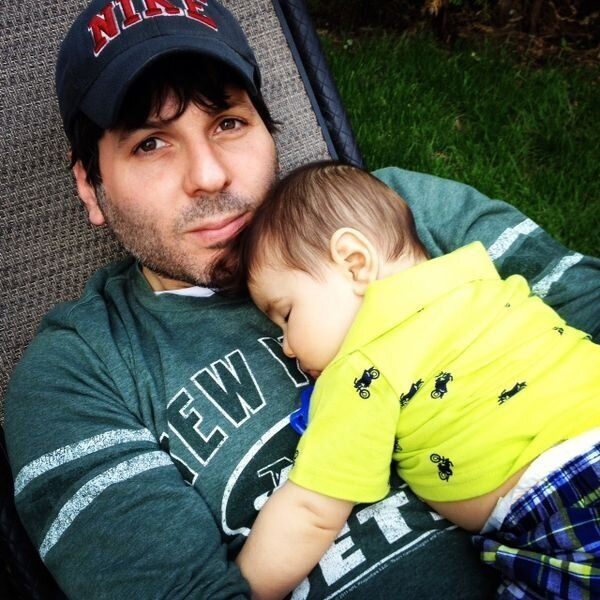 A photo from Adam's dating profile, which includes his son.