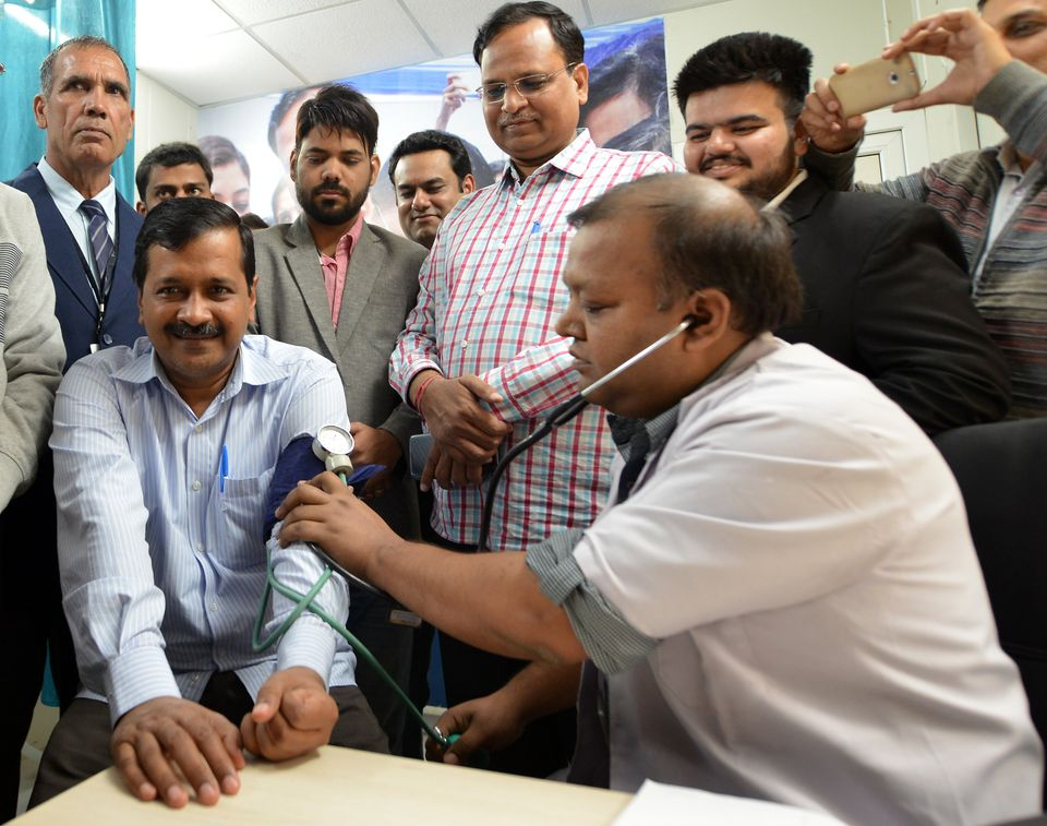 Delhi CM Arvind Kejriwal and minister Satyendar Jain inaugurate a mohalla clinic at Sarai Kale Khan in...