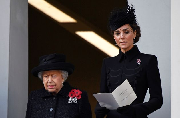 Queen Elizabeth and the Duchess of Cambridge attend a National Service of Remembrance in London on Nov.