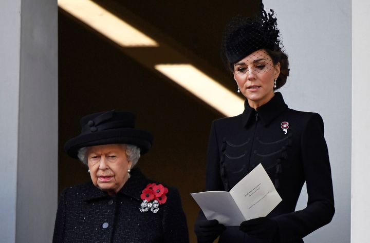 Queen Elizabeth and the Duchess of Cambridge attend a National Service of Remembrance in London on Nov. 10.