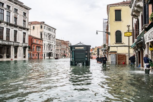 The high water on the 15th of November 2019 flooded the area of Cannaregio in Venice, Italy. The high...