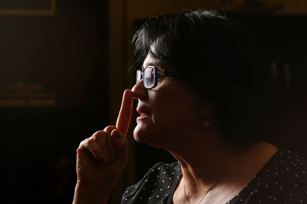 Brazilian Minister of Women, Family and Human Rights, Damares Alves gestures during an interview with...