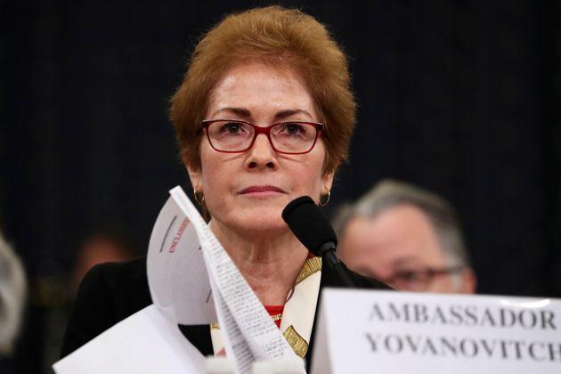 Former U.S. Ambassador to Ukraine Marie Yovanovitch testifies before the House Intelligence Committee...