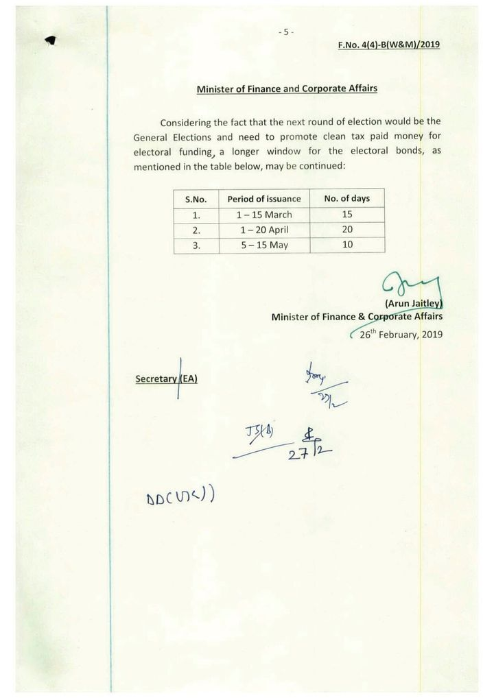A note, signed by then Finance Minister Arun Jaitley, calling for electoral bonds to be sold for an extra 5 days in contravention of the rules.