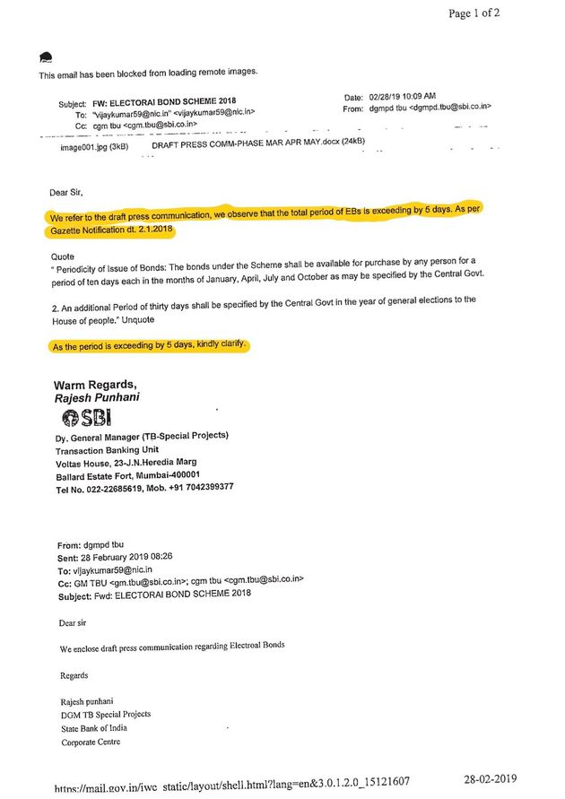 A copy of an email from SBI, pointing out that the additional five-day window for bond sales was against...