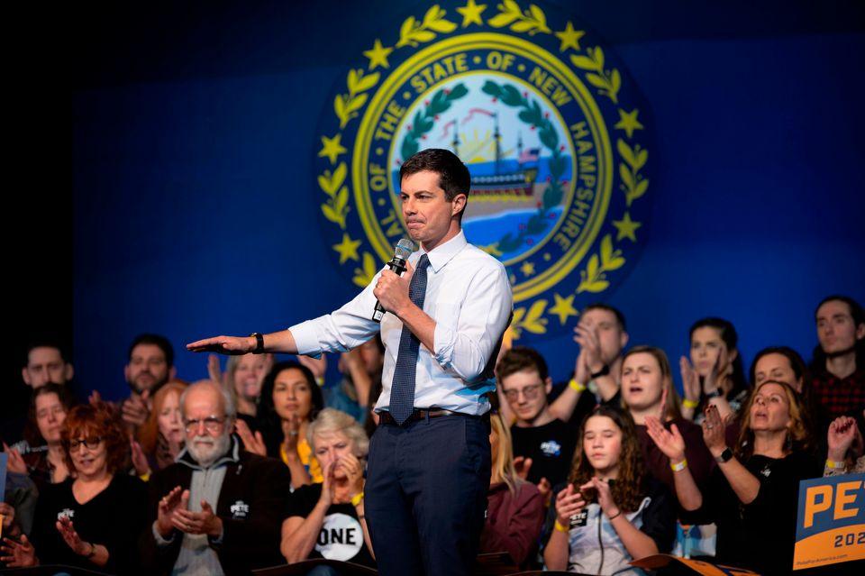 Democratic presidential hopeful Mayor Pete Buttigieg speaks as he kicks off his bus tour with a town...