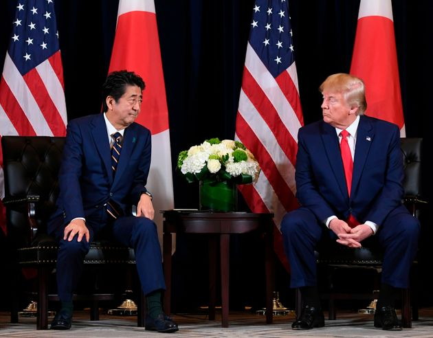US President Donald Trump and Japanese Prime Minister Shinzo Abe hold a meeting in New York, September...