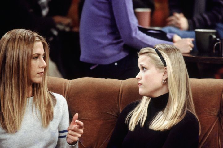 "Reese Witherspoon, right, had a cameo as Jennifer Aniston's on-screen sister Jill Green in two episodes of ""Friends"" which bo"