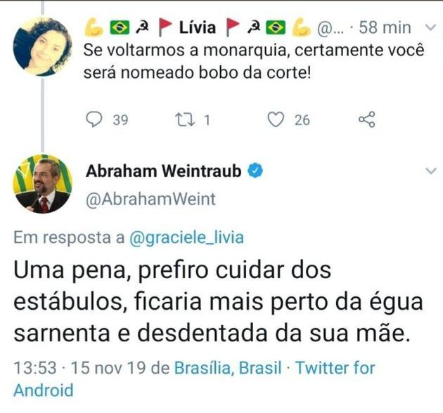 Comentário sobre a post de Abraham Weintraub e resposta do